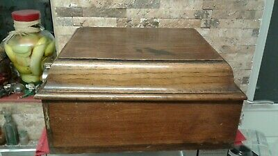 Antique  Oak Document Box  Vgc