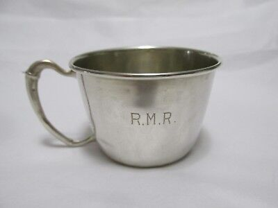 Sterling Silver BABY CUP with Ribbed Handle Sheffield England Monogram RMR
