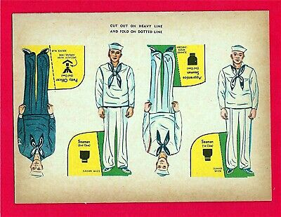 Old Military Sailors Cut Out Cereal Premium Toy Seaman Petty Officer Old Stock