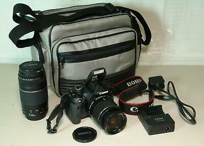 Canon EOS-600D 18.0MP Digital SLR Camera with 18-55mm & 75-300mm Lenses + Case