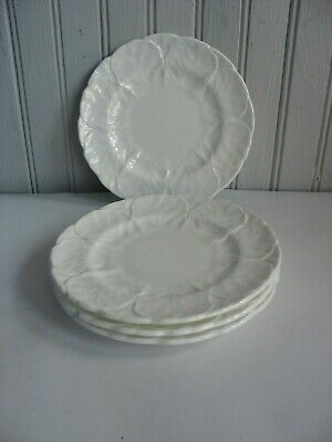 "S/4 Coalport Countryware Bread Plates 6 1/8"" White Cabbage leaf England"