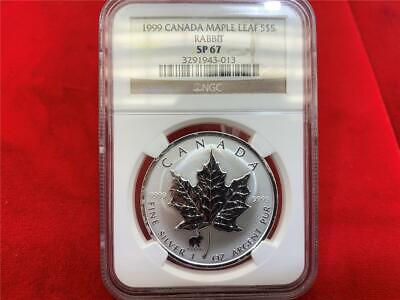 Canada 1999 $5 Maple Leaf privy mark Rabbit 1 OZ. .9999 silver NGC SP-67 GEM BU