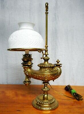 Antique Polished Brass Harvard Style Student Desk Lamp Aladdin Theodore Starr NY