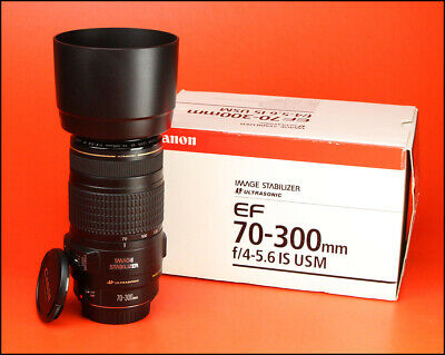 Canon EF 70-300mm IS USM F4-5.6 Image Stabilizer Zoom Lens With Caps,Hood & Box