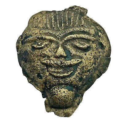 Ancient Or Medieval Brass Anthropomorphic Head Artifact Antiquity European Rare