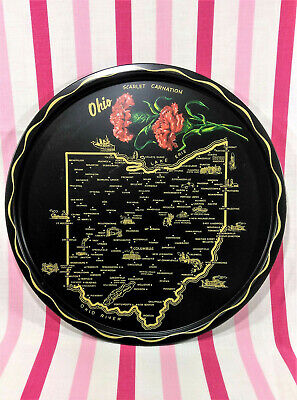 Lovely Vintage State of Ohio Souvenir Tin Serving Tray Carnation Black & Gold