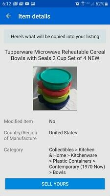 Tupperware Microwave Reheatable Cereal Bowls with Seals 2 Cup Set of 4 NEW