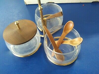 Mid Century Modern Serving Tray Nuts Relish trio dish Condiment Caddy teak wood