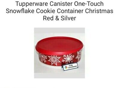 Tupperware Canister One-Touch Snowflake Cookie Container Christmas Red & Silver