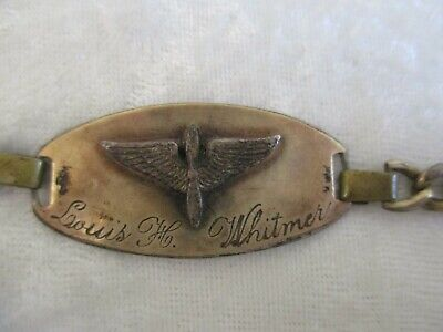 HTF WWII Military Air Force Prop & Wings Silver ID Bracelet-Named and Numbered