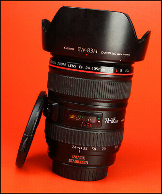 Canon EF 24-105mm F4 L IS USM Zoom Lens Sold with Both Lens Caps & Hood,