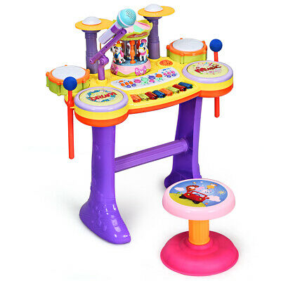 3-in-1 Kids Musical Instrument Piano Keyboard Drum Set with Carousel Music Box