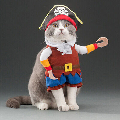 Pet Dog Cat Pirate Halloween Xmas Fancy Dress Costume Outfit Clothes Cosplay