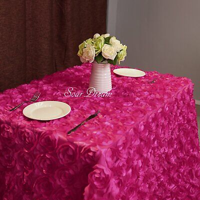 3D Rosette Florals Satin 50 x102 Inches Rose Red Rectangular Tablecloths