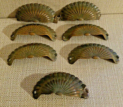 Antique Brass Clamshell Drawer Pulls Lot Of 7