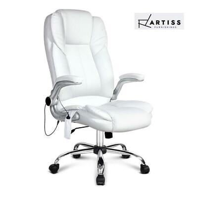 RTS Artiss 8 Point Executive Massage Office Chair Computer Chairs Armrests White