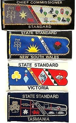 4 x Girl Guide Badges: AUSTRALIAN CHIEF COMMISSIONER STANDARD + NSW, VIC & TAS