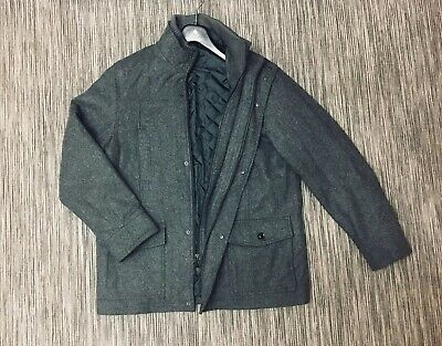 John Lewis Mens Wool Blend Car Coat Jacket Grey Size L Excellent Condition