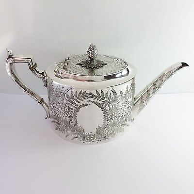 Antique James Dixon & Sons Silverplate Ornate Etched Fern 8 Cup Teapot England