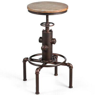 Industrial Bar Stool Solid Wood Seat Water Pipe Hydrant Design Height Adjustable