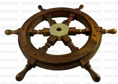 Wooden Ship Wheel 24 Inch Nautical Wall Decor Vintage Collectible Brown Brass