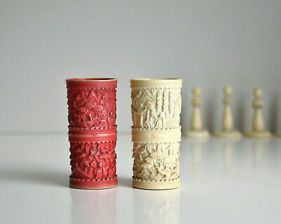 Antique dice shaker. Carved bone red & ivory coloured. Chinese bovine gaming cup