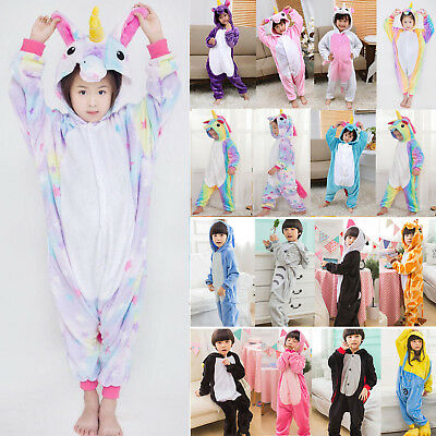 Kids Girls Rainbow Unicorn Kigurumi Nightwear Clothes Pajamas Sleepwear Jumpsuit