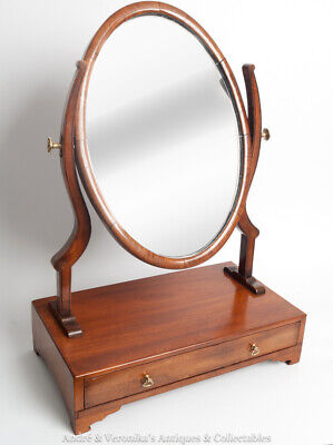 Antique Dressing Table Mirror w. Drawer Mahogany Cherry Brass Fittings Tilt Oval