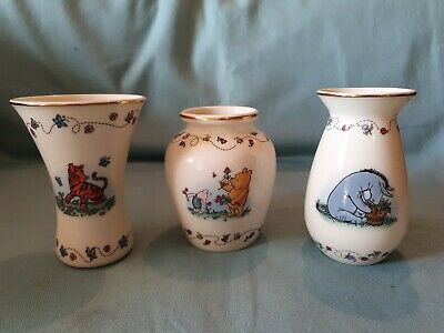 Lenox Set of 3 Disney Classic Pooh Friendship in Bloom Small Bud Vases GC