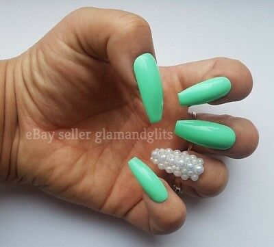 24 Hand Painted Gel False Nails - Mint Green Pearl Coffin, Stiletto, Square Oval