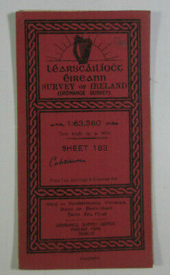 1903 Antique OS Ordnance Survey Ireland One-Inch Map 183 Co Kerry (Cahersiveen)