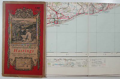 1921 Old Vintage OS Ordnance Survey One-Inch Popular Edition Map 135 Hastings