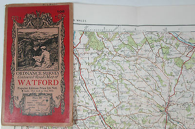 1932 old vintage OS Ordnance Survey one-inch Popular Edition Map 106 Watford
