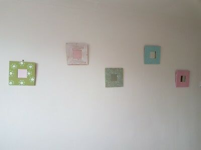 5 x IKEA 'SHABBY CHIC' PAINTED AND DECORATED WOODEN MIRROR FRAMES