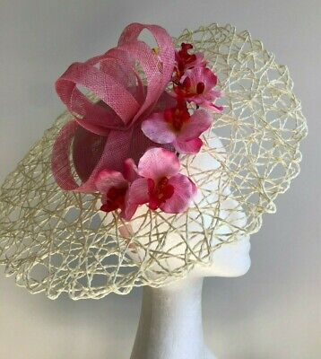 NEW cream basketweave fascinator with pink loops and pink orchids