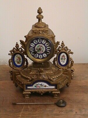 ANTIQUE Japy freres Paris FRENCH MANTEL CLOCK   PORCELAIN PANEL