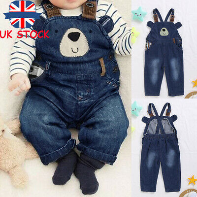 Kids Baby Girl Boys Denim Dungarees Jumpsuit Staps Jeans Sleeveless Playsuit UK