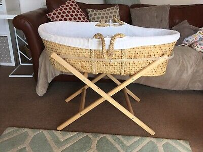 Wicker Baby Moses Basket And Stand