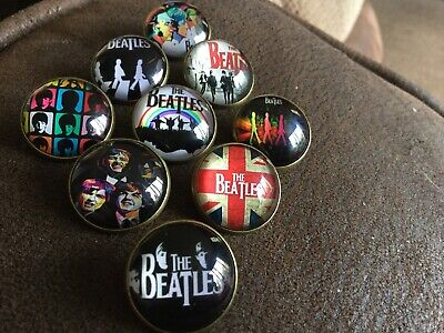Job Lot Collection Of 9  BEATLES Iconic Pin Badges Brooches Exceptional Quality