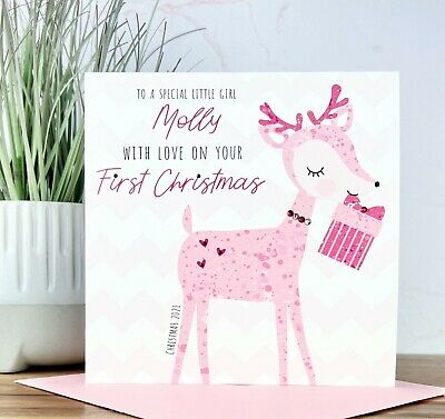 Personalised Handmade Baby Girls 1st First Christmas Card Niece Daughter