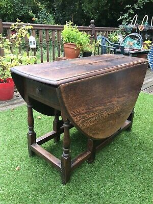 Antique Oak Oval drop leaf dining table Country Cottage French Shabby Chic