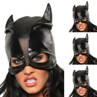 Sexy Catwomen Fancy Mask Half Face Head Head Hood Fashion Leather One Size Prop