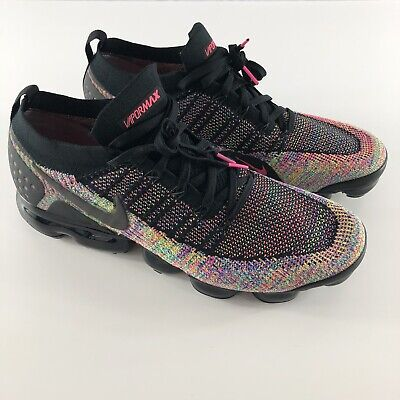 Nike Air VaporMax Flyknit 2 Black Racer Pink Blue Multicolor Mens 14  942842-017