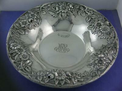 "Sterling S KIRK & SON 9"" large Bowl REPOUSSE hand decorated ~ no.15 - 11.96ozt"