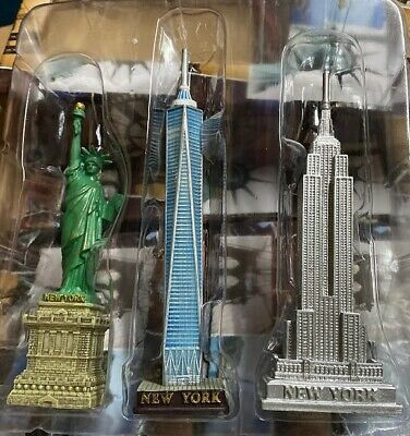 Set of 3 NYC Statue of Liberty,Empire and Chrysler Building Statue Figures 5 in