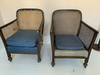 Pair Of Antique Bergere Caned Chairs