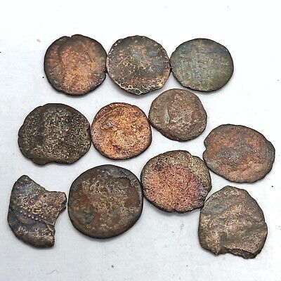 11 Ancient Roman Empire Copper Coins Artifacts European Finds Old Bible Tokens