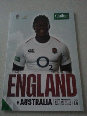 ENGLAND v AUSTRALIA 24th November 2018 Rugby Union Programme TWICKENHAM