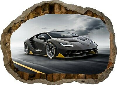 Super Sports Car Racing Bugatti 3d Smashed Wall View Sticker Poster Decal Z120 2