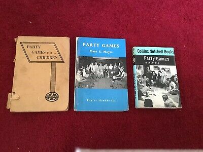 3 Vintage Books Of Party Games, 1950's - 60's